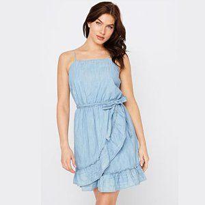 Denim Ruffled Short Dress with Tie Belt Light Blue
